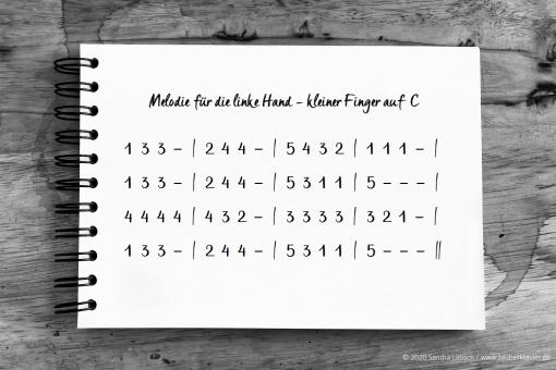 Drei Melodien für die linke Hand - Fingernummern